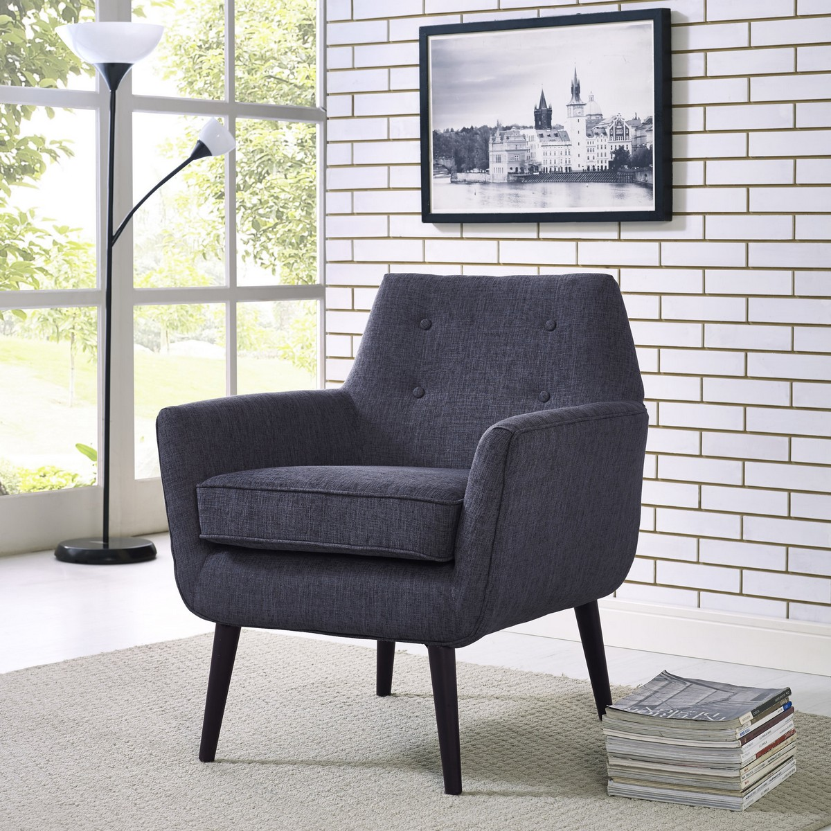 Tov Furniture Clyde Navy Linen Chair A38 P At Homelement Com
