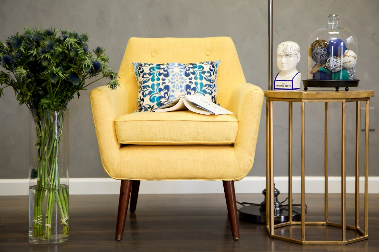 Tov Furniture Clyde Mustard Yellow Linen Chair Homelement