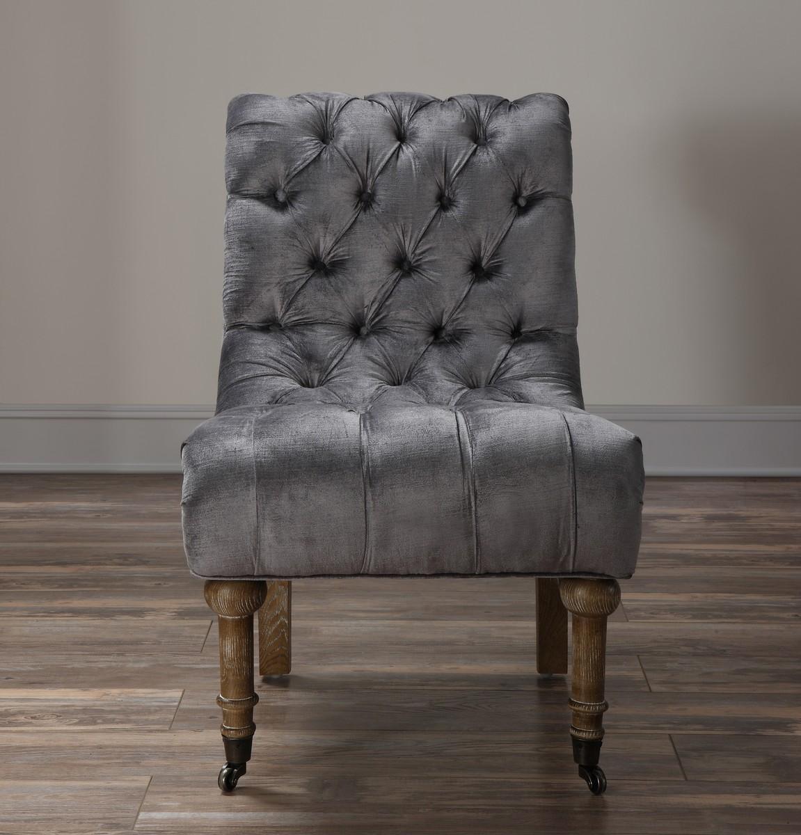 TOV Furniture Vivi Grey Velvet Slipper Chair