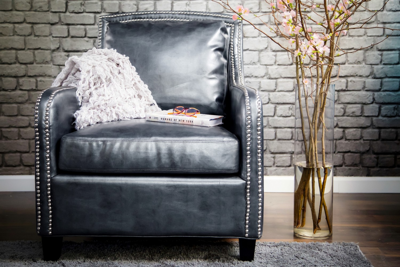 TOV Furniture Greenwich Graphite Metallic Leather Club Chair