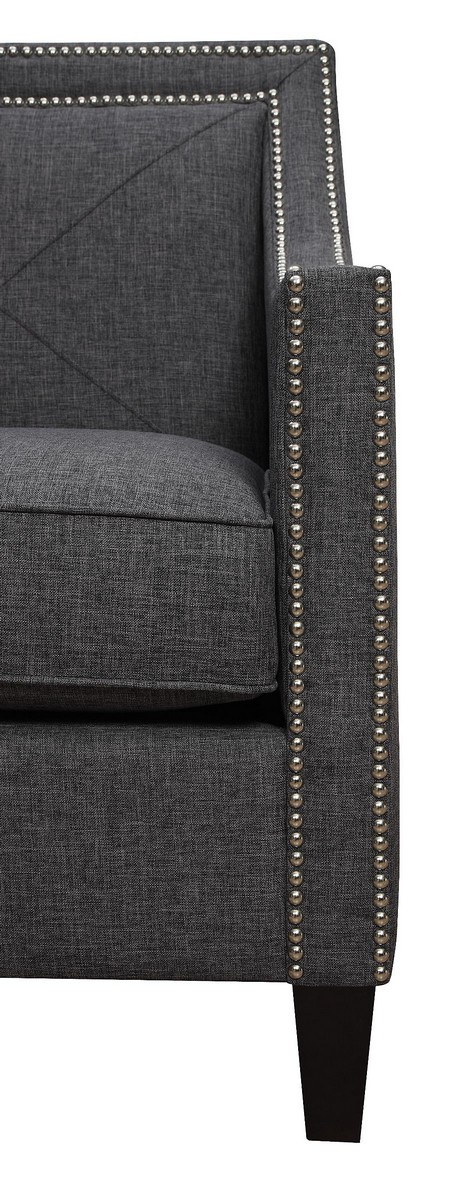 TOV Furniture Asheville Dark Grey Linen Chair