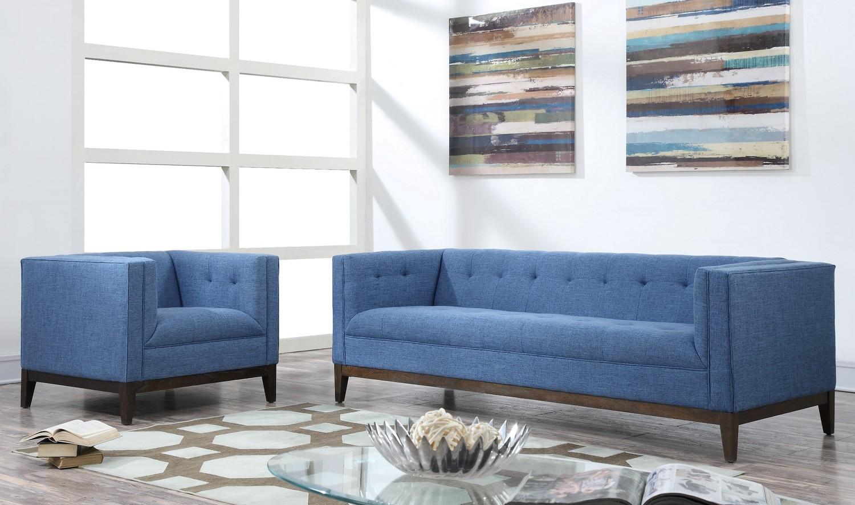 TOV Furniture Gavin Blue Linen Living Room Set