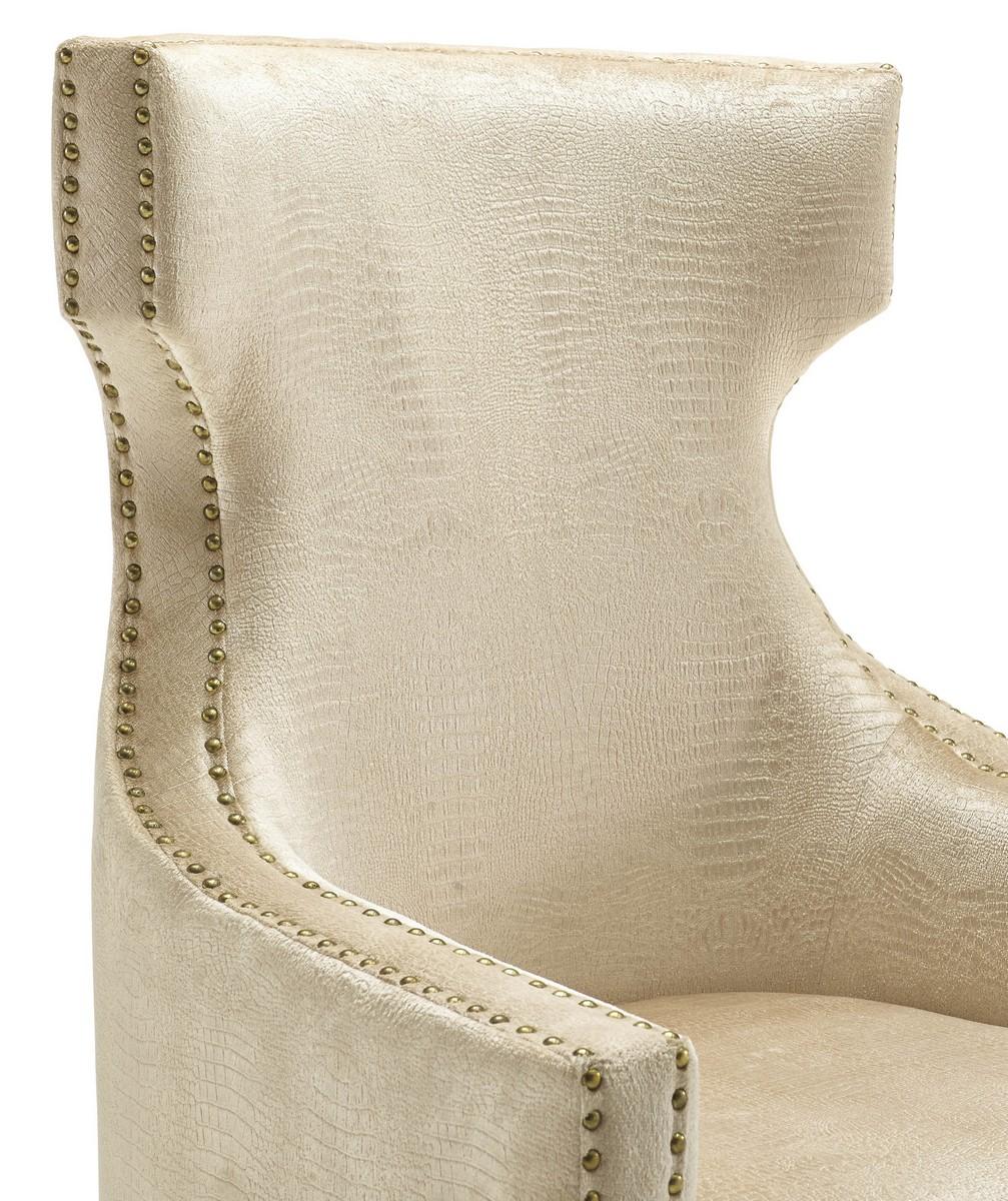 TOV Furniture Gramercy Gold Croc Velvet Wing Chair