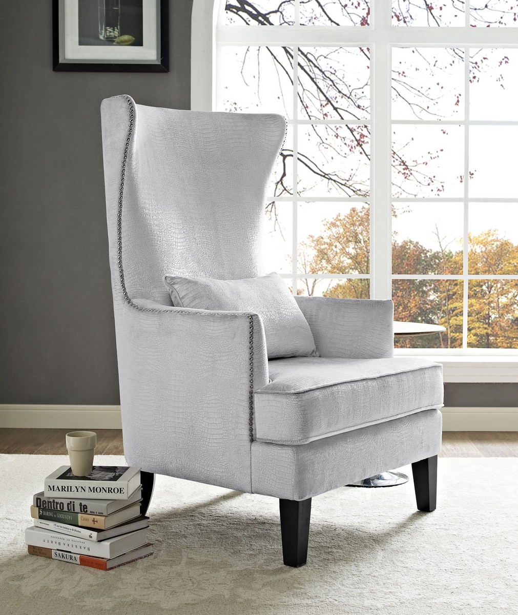 TOV Furniture Bristol Silver Croc Tall Chair
