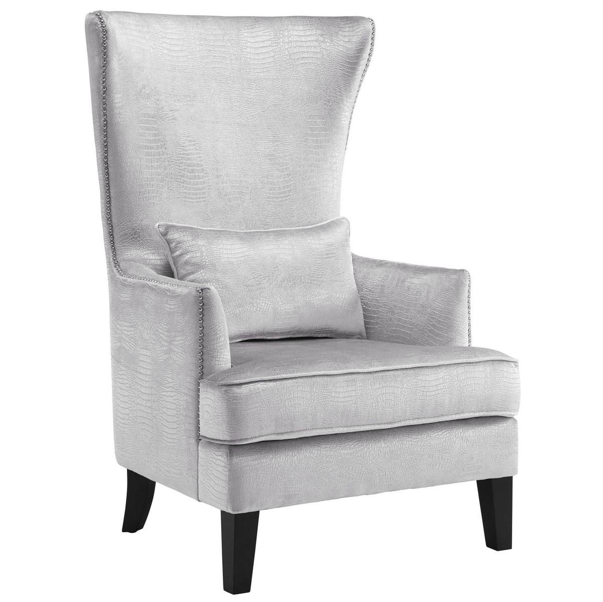 TOV Furniture Bristol Silver Croc Tall Chair