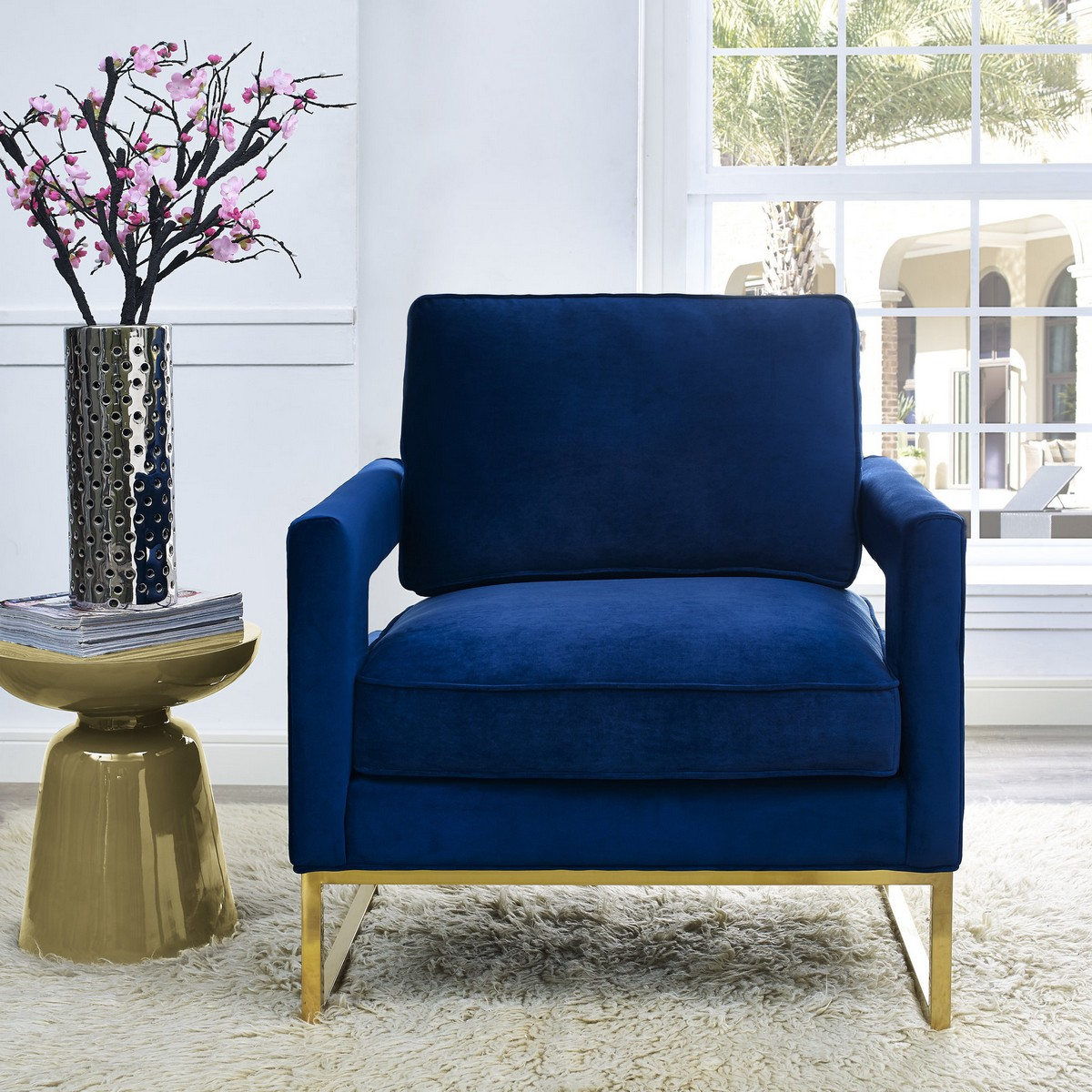 Tov Furniture Avery Navy Velvet Chair A91 At Homelement Com