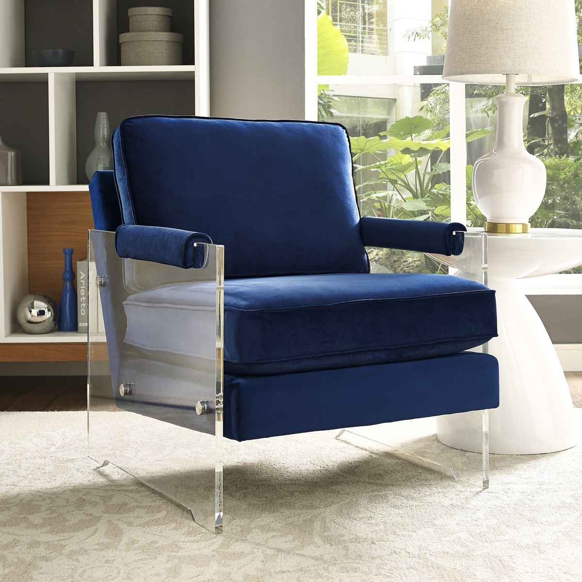 Tov Furniture Serena Navy Velvet Lucite Chair A94 At