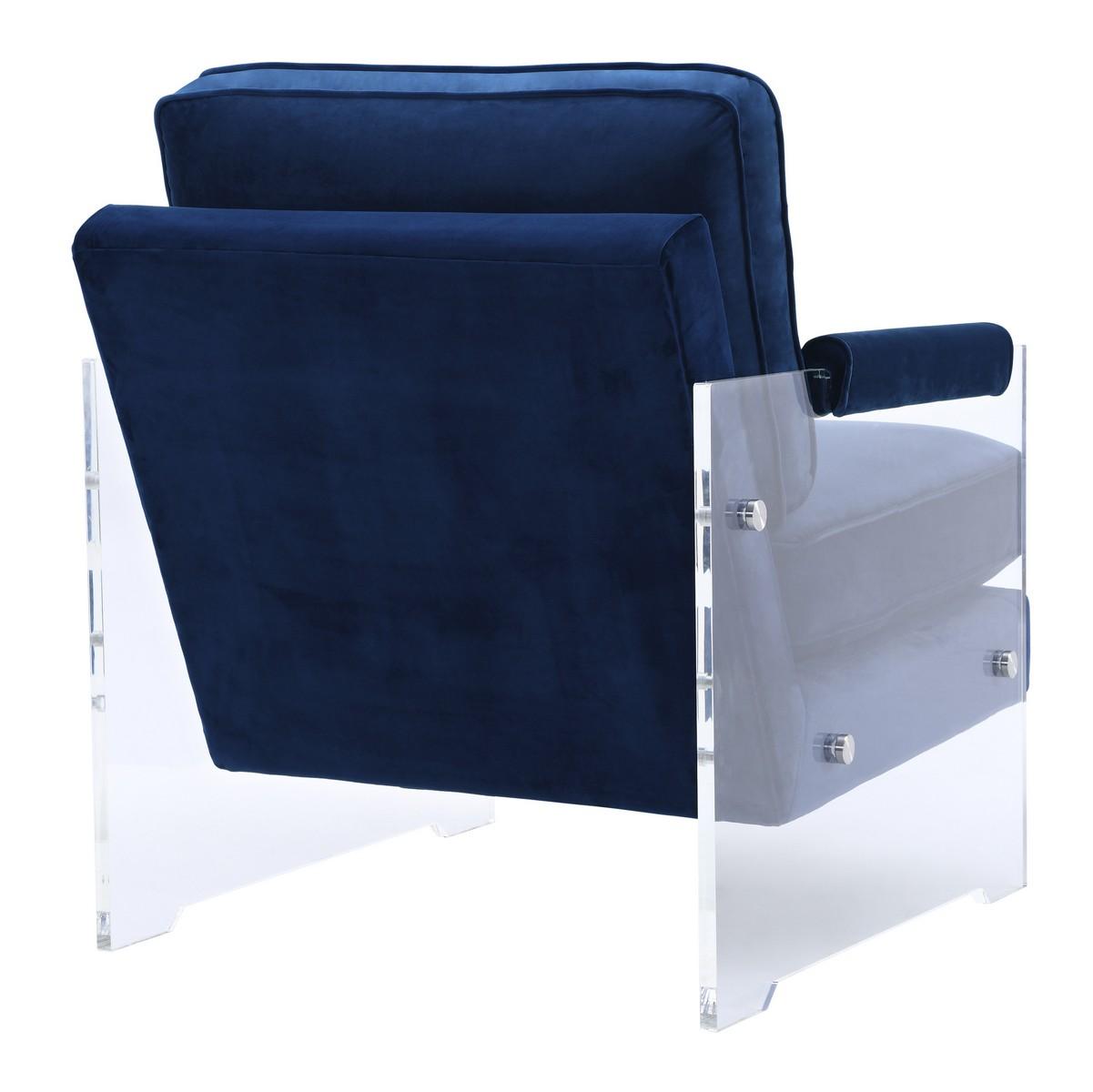 Navy blue velvet chair - Tov Furniture Serena Navy Velvet Lucite Chair