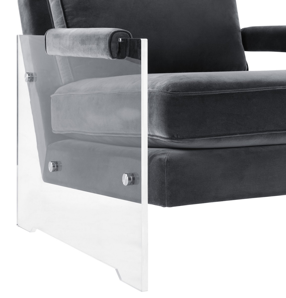TOV Furniture Serena Grey Velvet/Lucite Chair