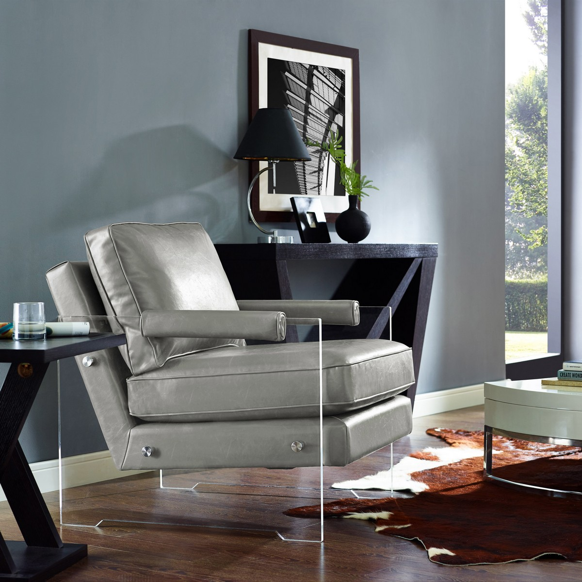 TOV Furniture Serena Grey Eco Leather/Lucite Chair