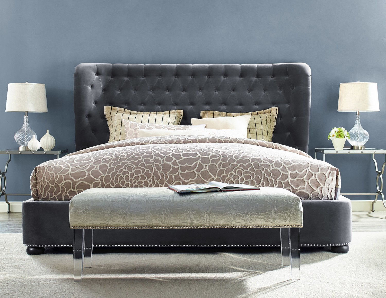 tov furniture finley grey velvet bed - Tov Furniture
