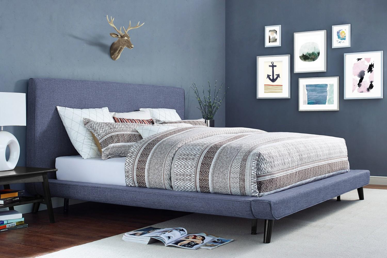 Tov Furniture Nixon Blue Linen Bed B25 Blue F At Homelement Com