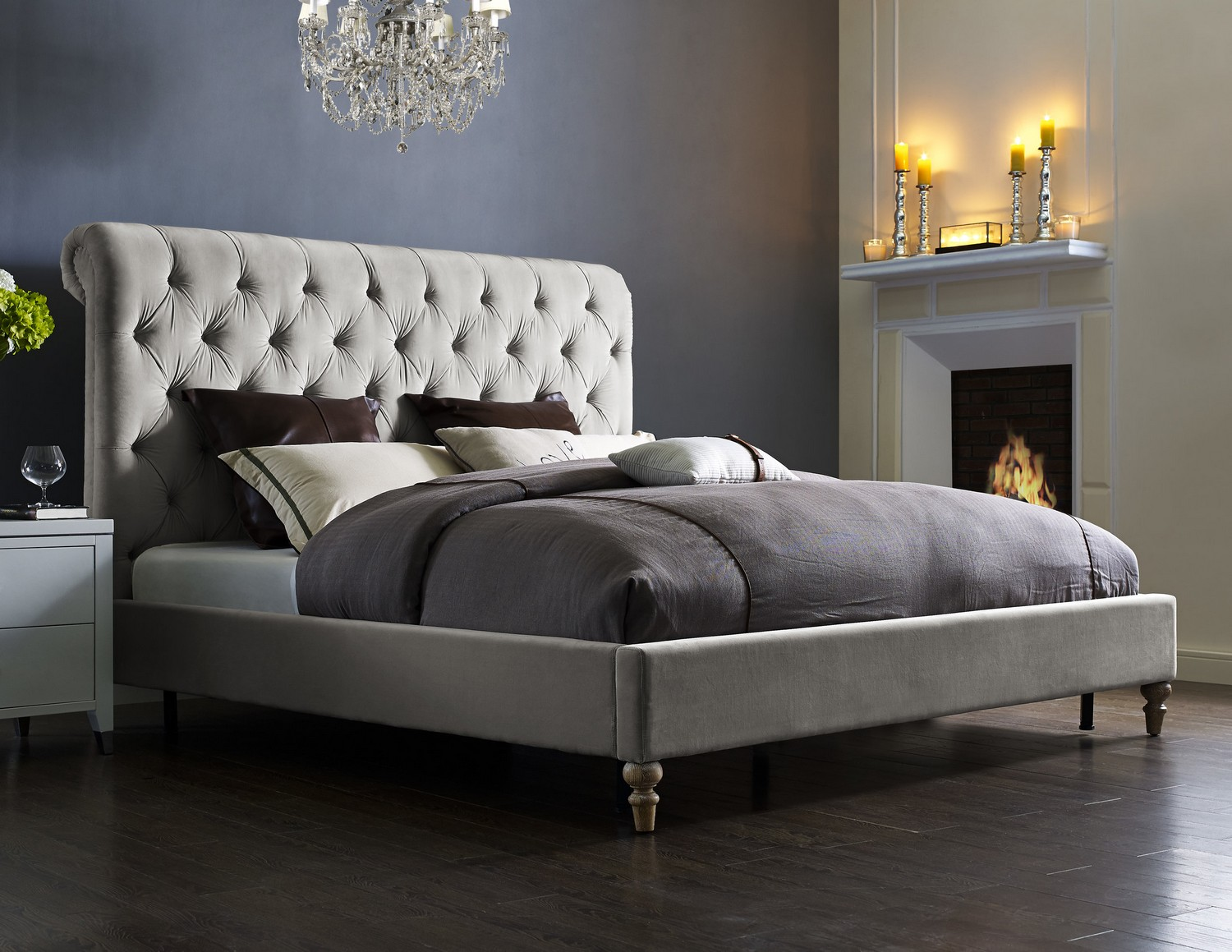 TOV Furniture Putnam Grey Velvet Bed