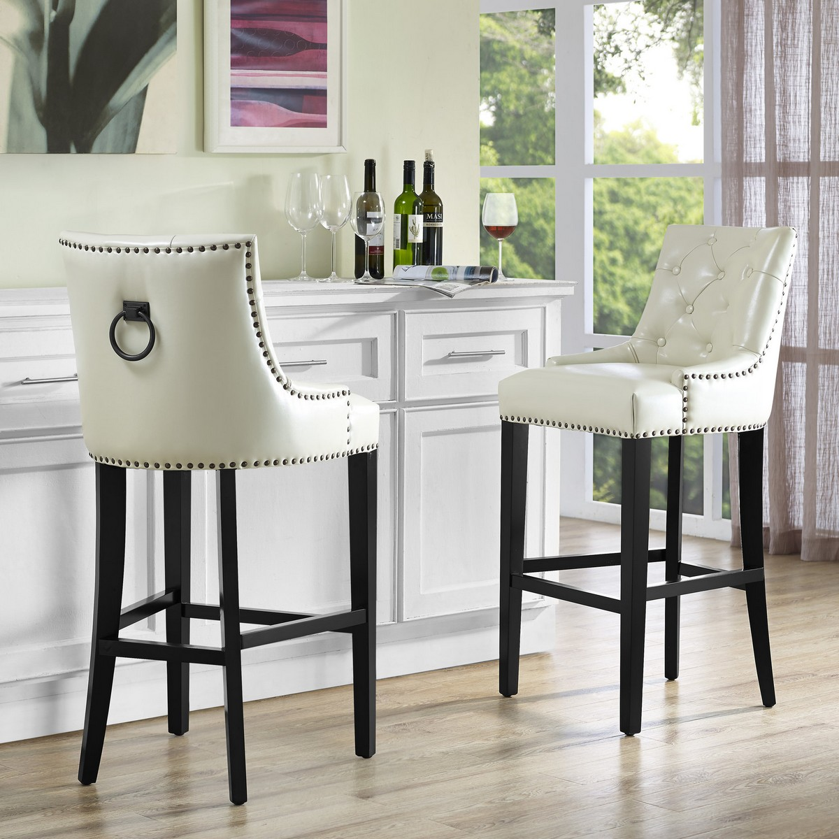 Tov Furniture Uptown Cream Leather Counter Stool Bs17 At