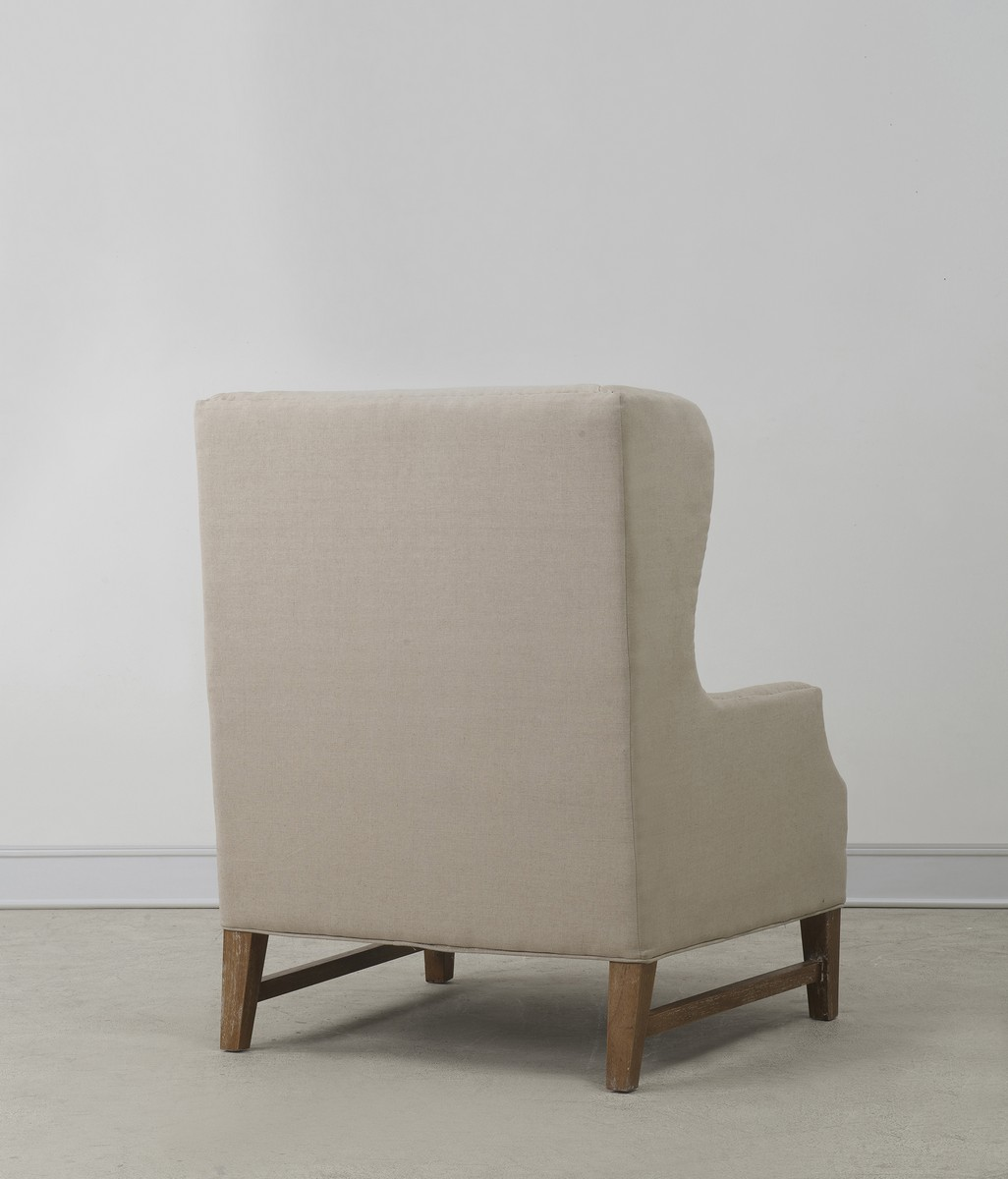TOV Furniture Devon Beige Linen Wing Chair