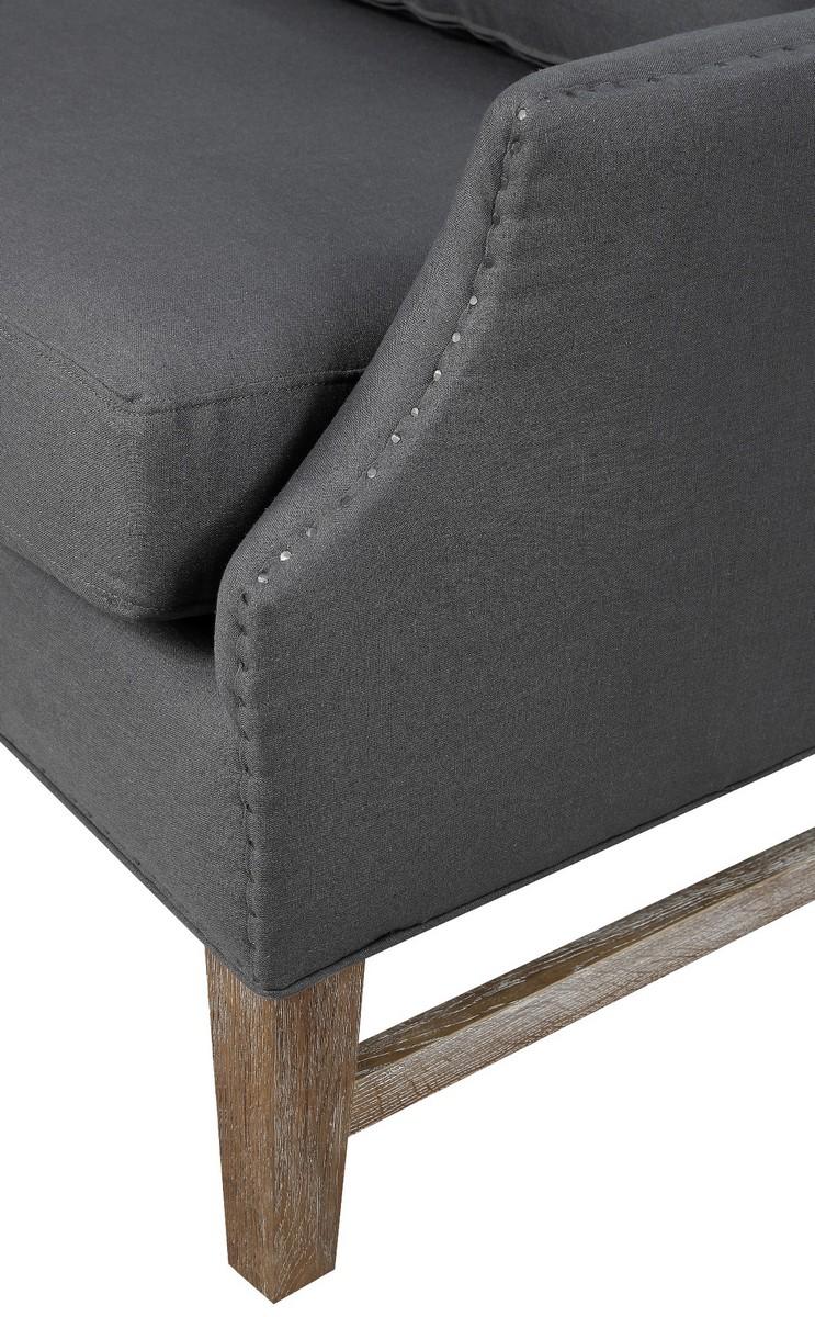 TOV Furniture Devon Grey Linen Wing Chair