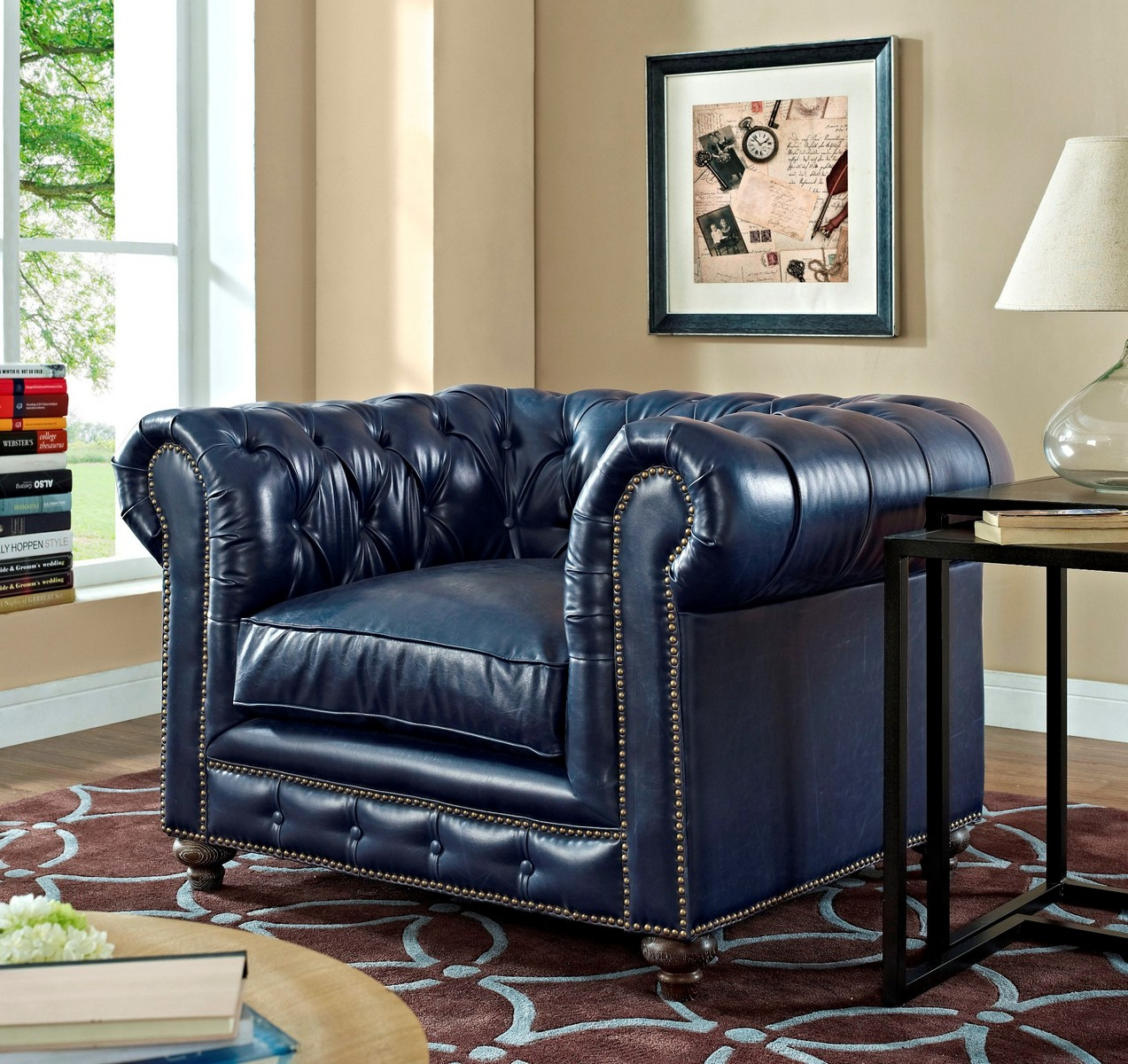 TOV Furniture Durango Rustic Blue Leather Club Chair