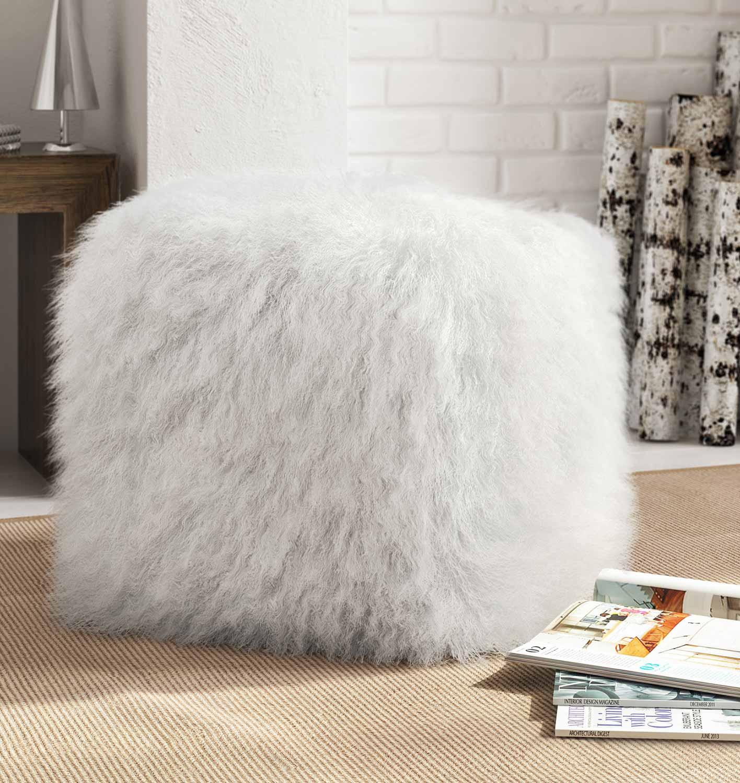 TOV Furniture Tibetan Sheep Pouf - White