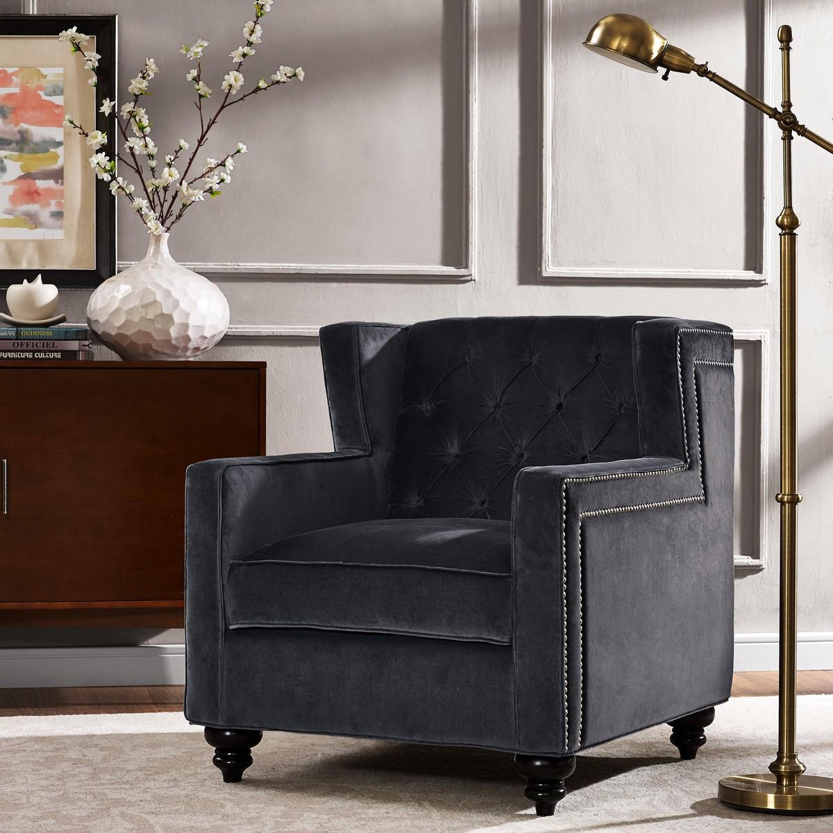 TOV Furniture Sydney Grey Velvet Chair