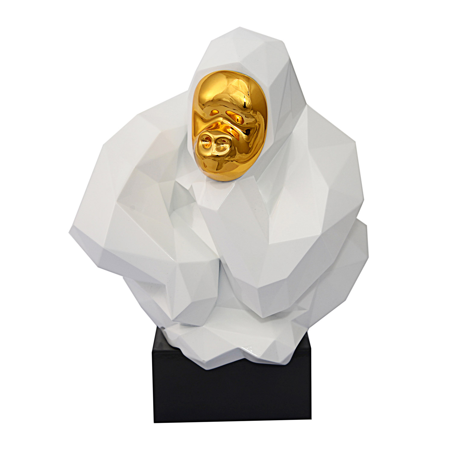 TOV Furniture Pondering Ape Large Sculpture - White/Gold