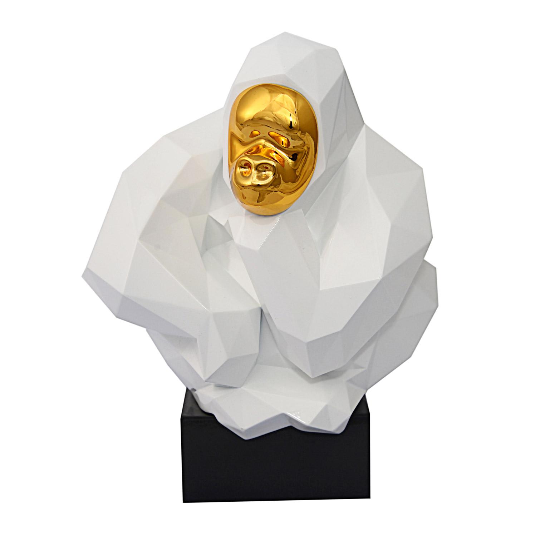 TOV Furniture Pondering Ape Sculpture - White/Gold