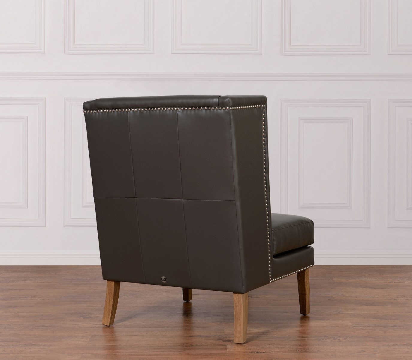 TOV Furniture Chelsea Grey Leather Wing Chair