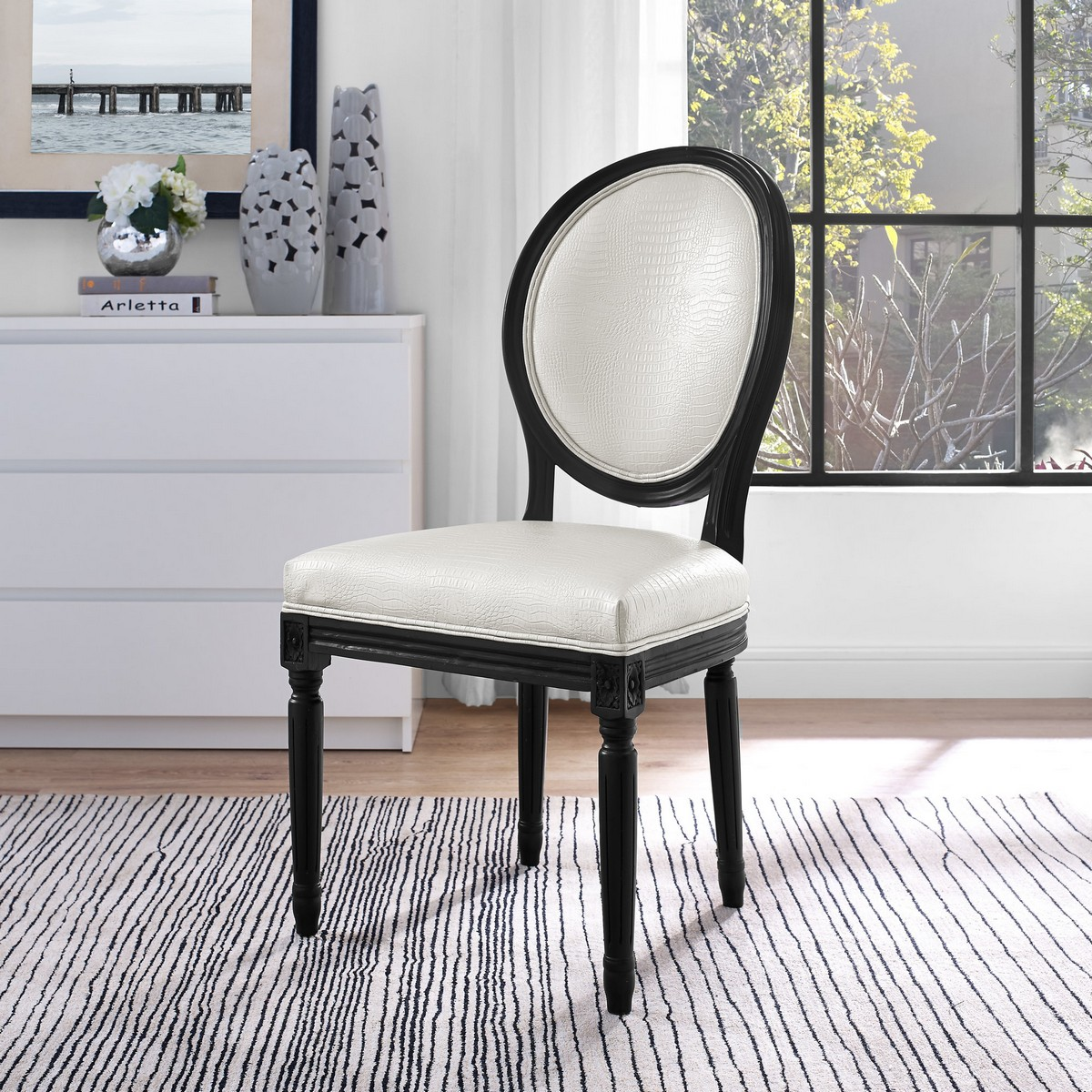tov furniture philip white croc dining chair set of 2 - Tov Furniture