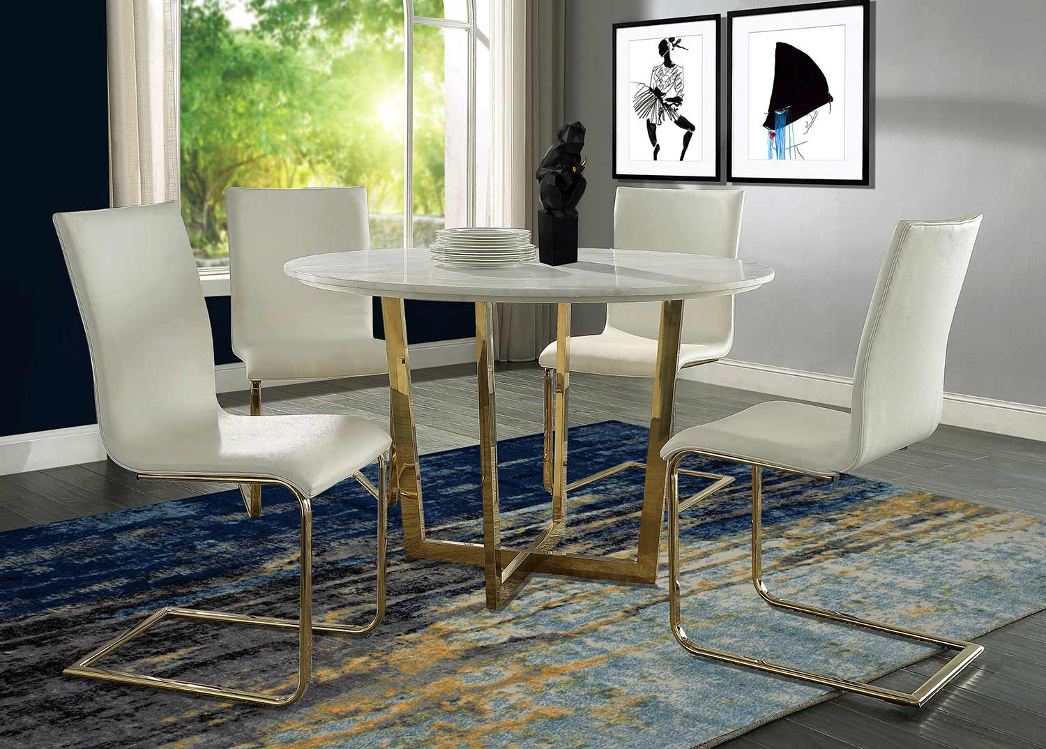 TOV Furniture Maxim Dining Table Set - White
