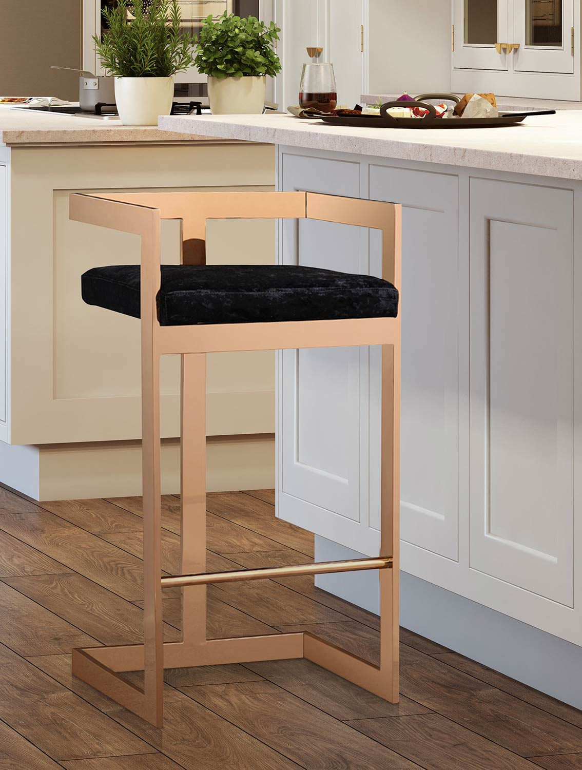 TOV Furniture Marquee Bar Stool - Black/Gold
