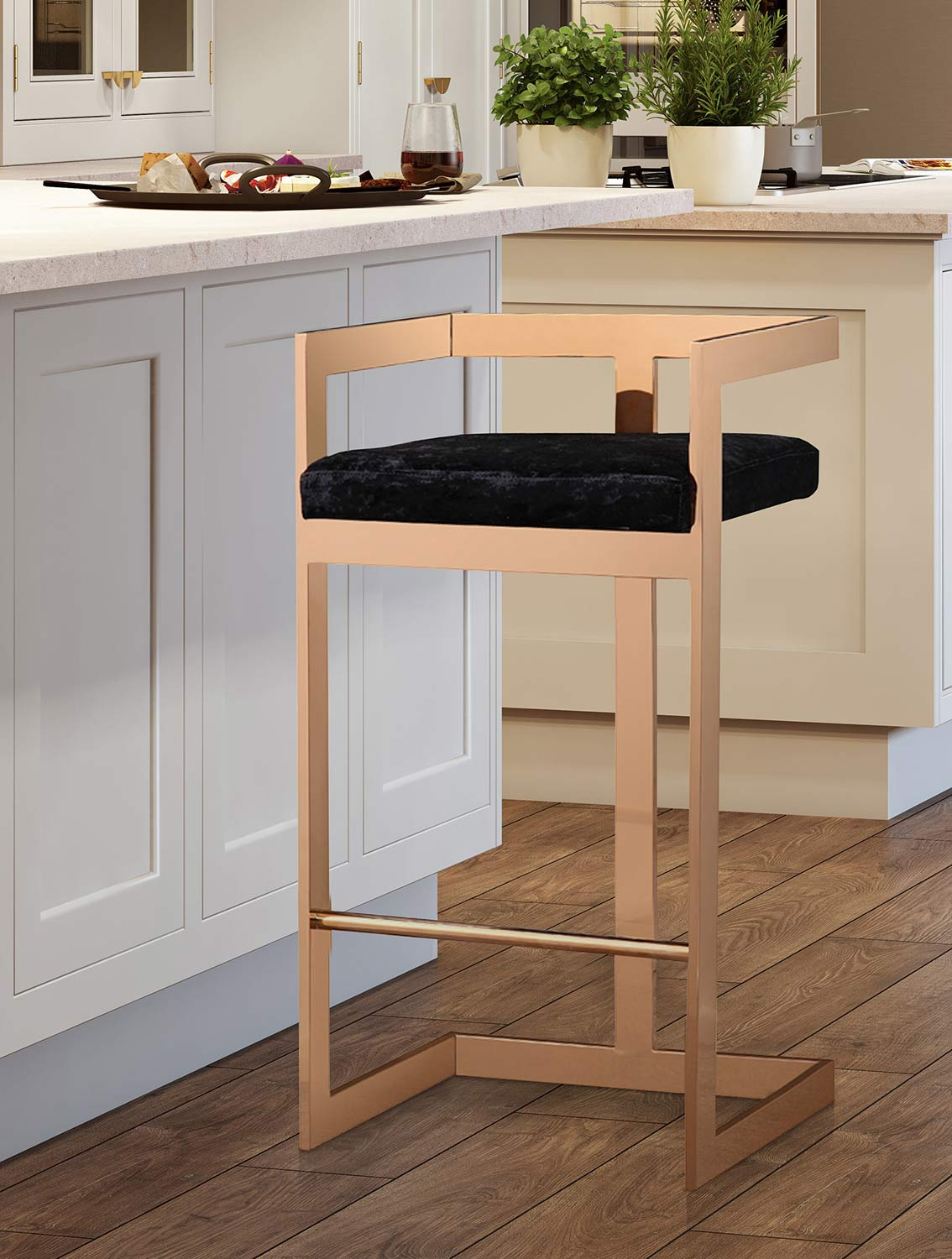 TOV Furniture Marquee Counter Stool - Black/Gold