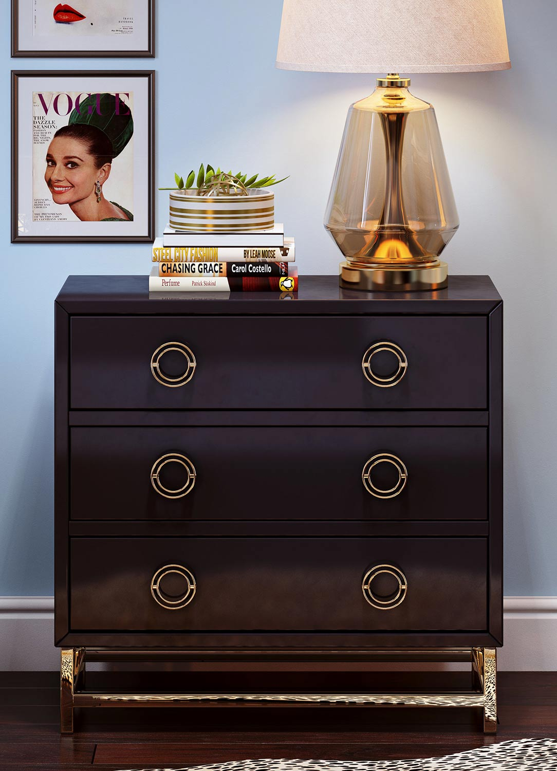 TOV Furniture Majesty Chest - Black/Gold