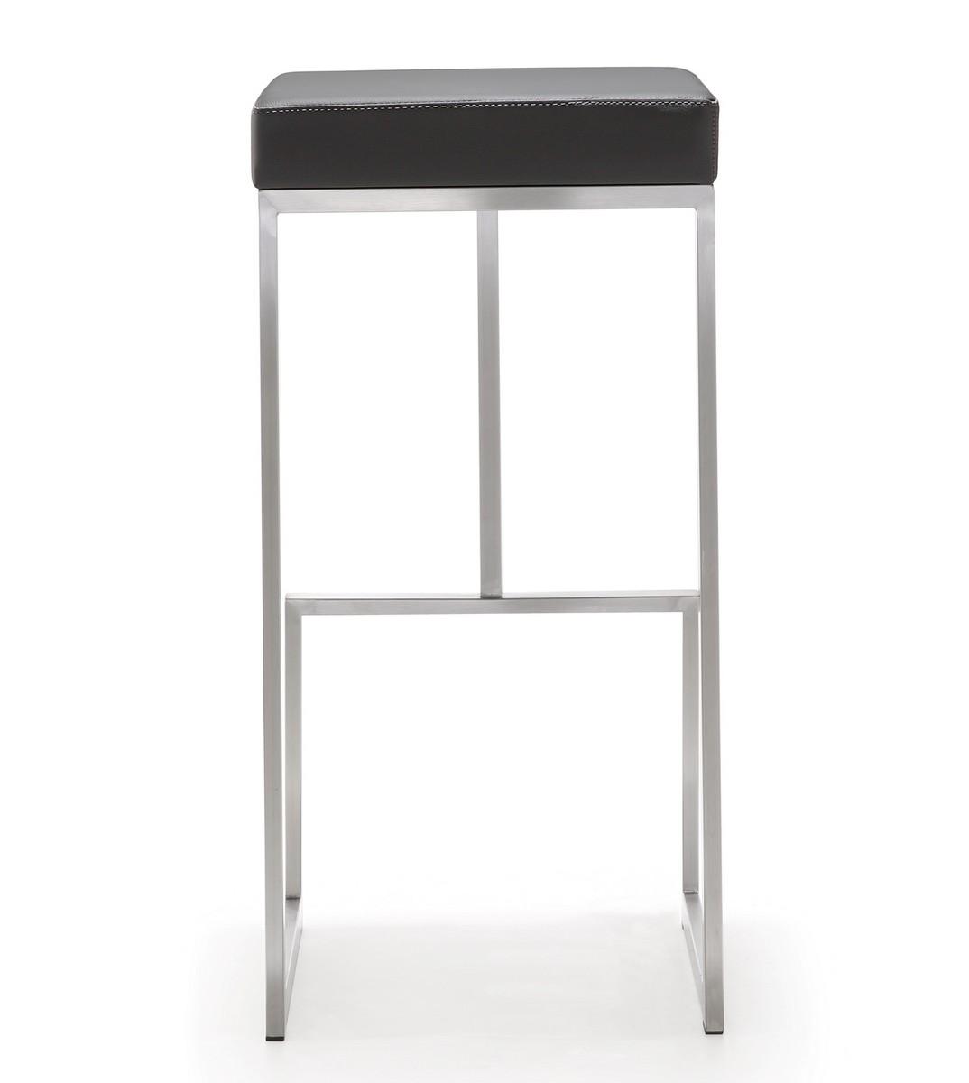 TOV Furniture Ferrara Grey Stainless Steel Barstool - Set of 2