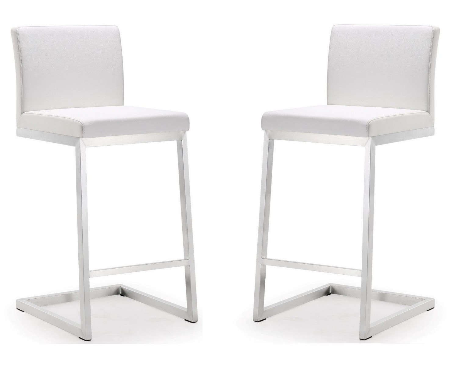 TOV Furniture Parma White Stainless Steel Counter Stool   Set Of 2
