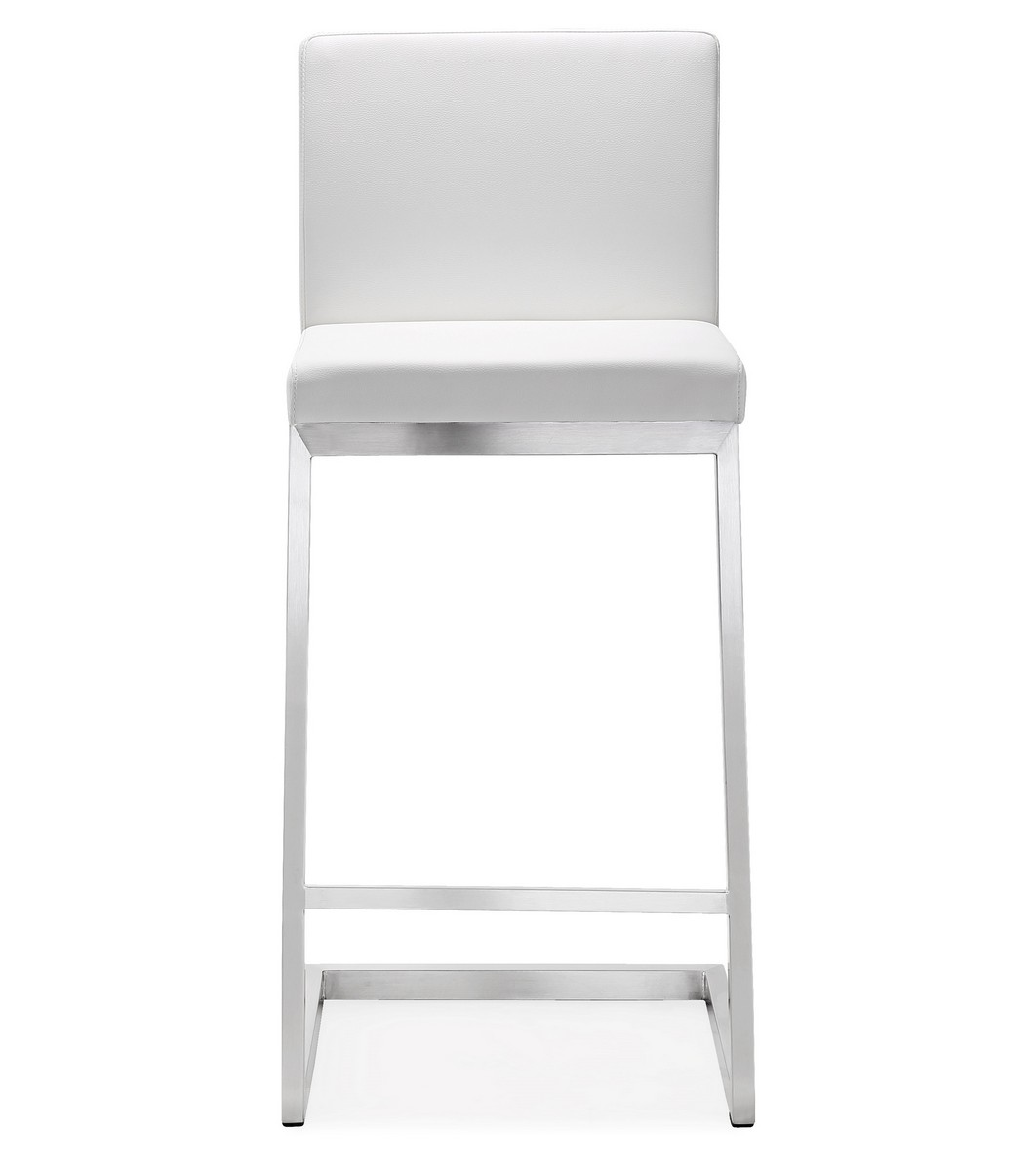 Tov Furniture Parma White Stainless Steel Counter Stool