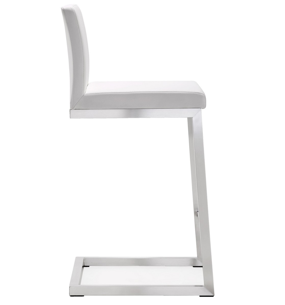 TOV Furniture Parma White Stainless Steel Counter Stool - Set of 2