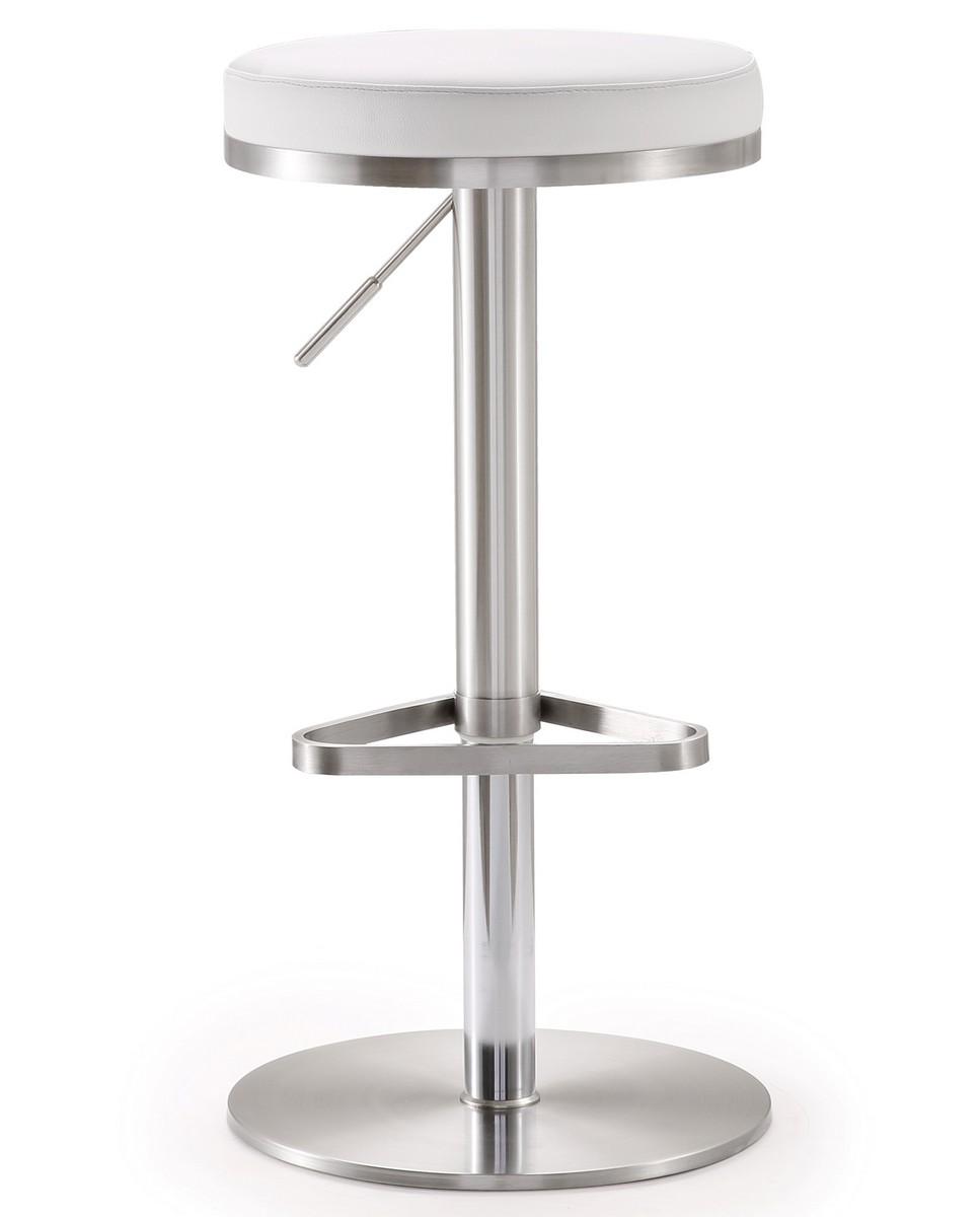 TOV Furniture Fano White Stainless Steel Adjustable Barstool