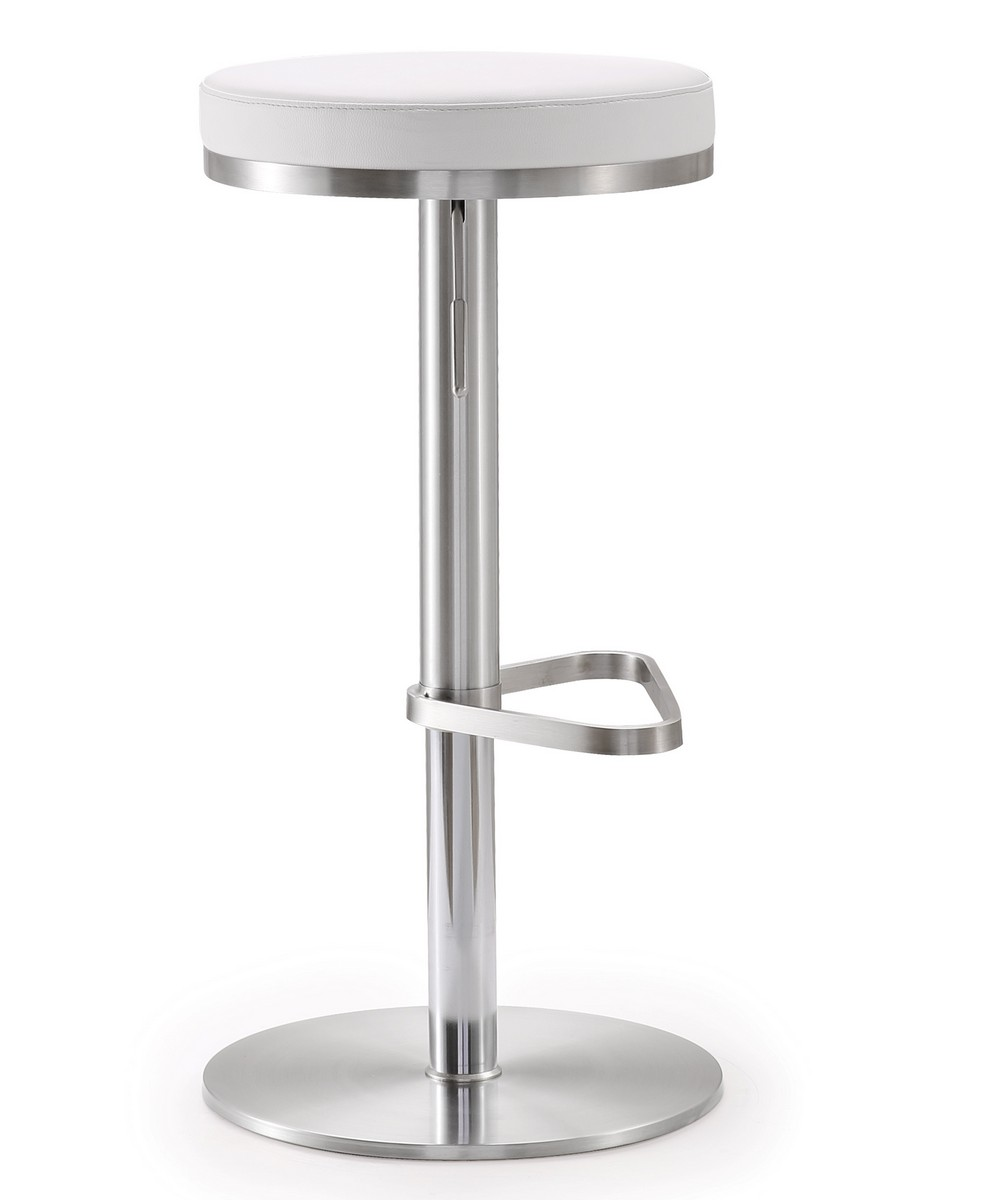 TOV Furniture Fano White Stainless Steel Adjustable Barstool