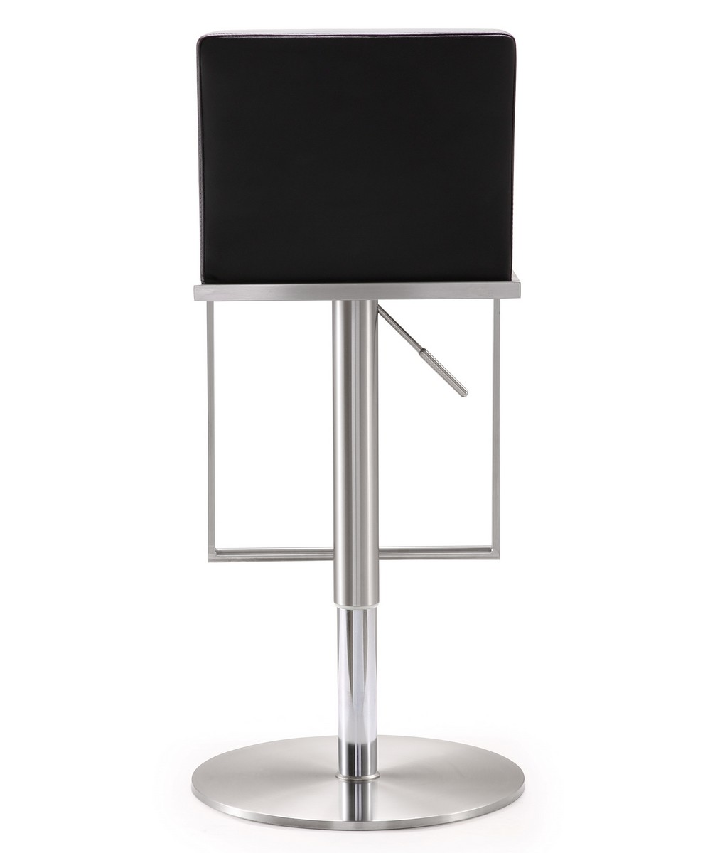 TOV Furniture Amalfi Black Stainless Steel Adjustable Barstool