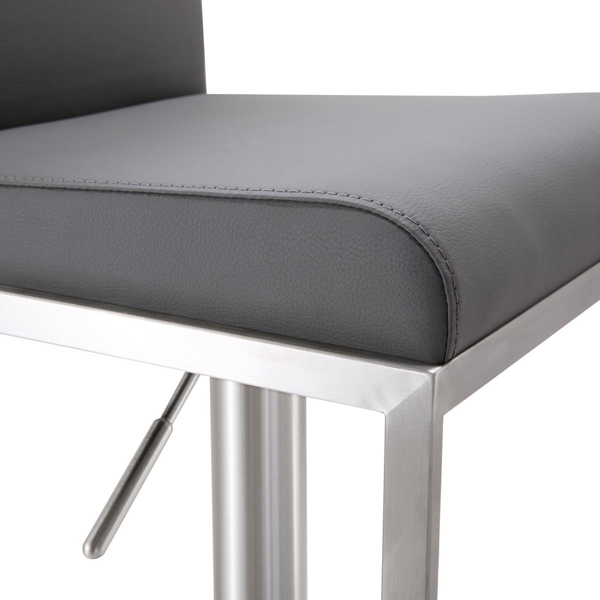 TOV Furniture Amalfi Grey Stainless Steel Adjustable Barstool