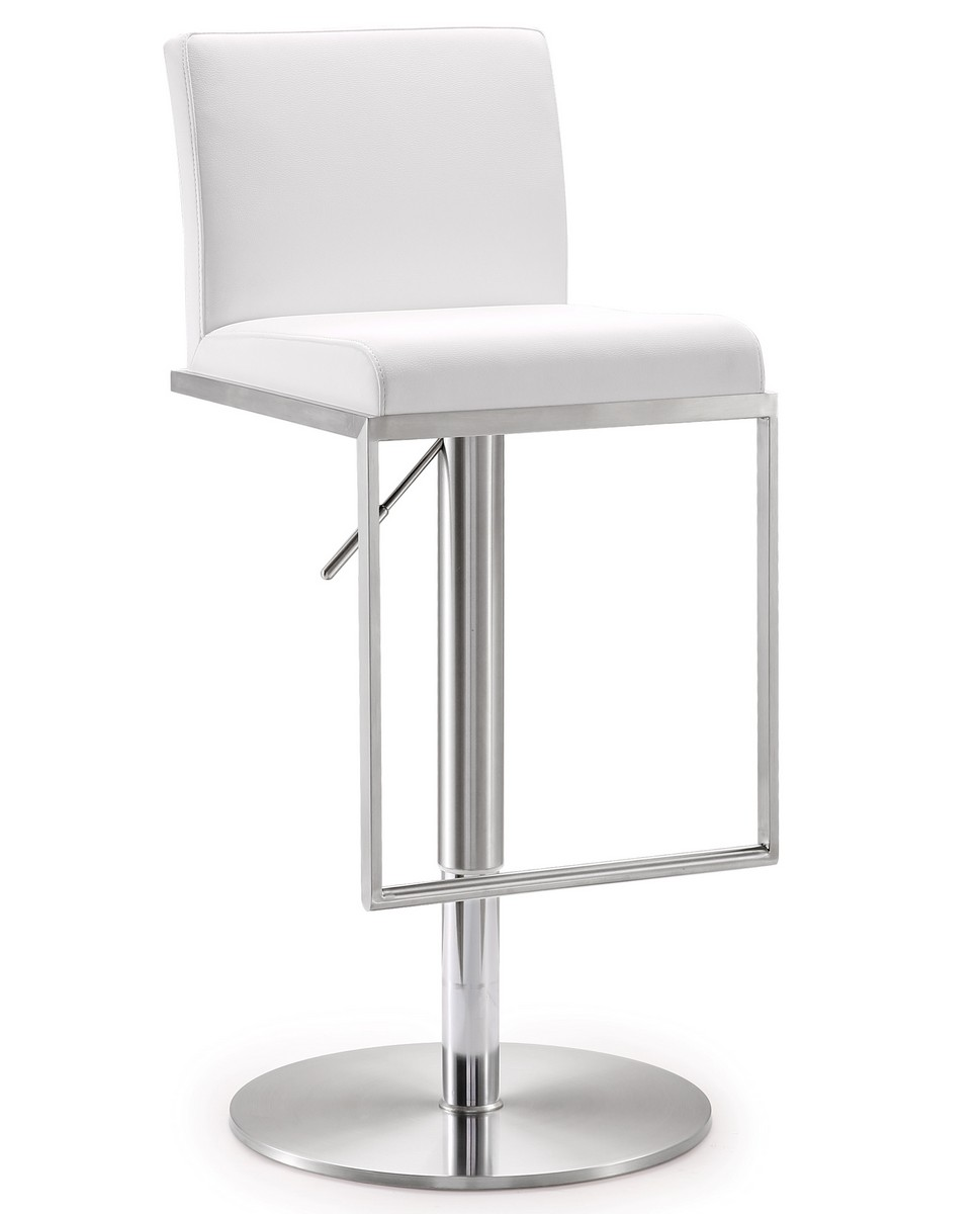 TOV Furniture Amalfi White Stainless Steel Adjustable Barstool