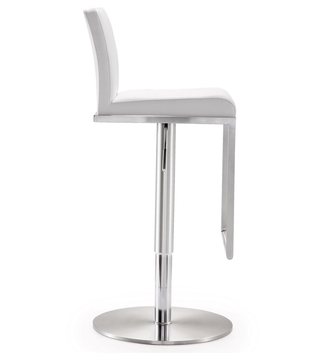 TOV Furniture Amalfi White Stainless Steel Adjustable Barstool