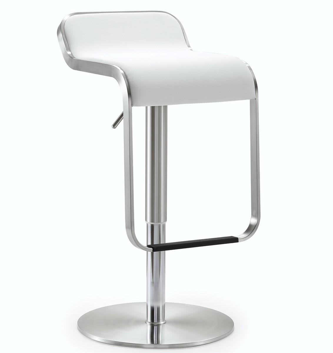 TOV Furniture Napoli White Stainless Steel Adjustable Barstool