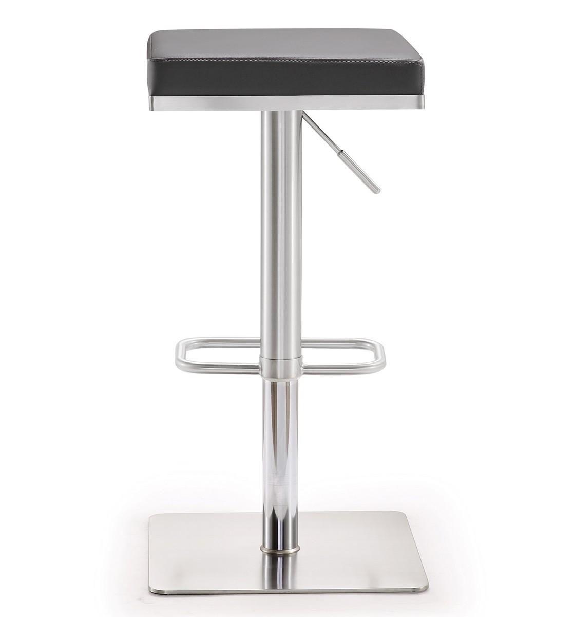 TOV Furniture Bari Grey Stainless Steel Adjustable Barstool