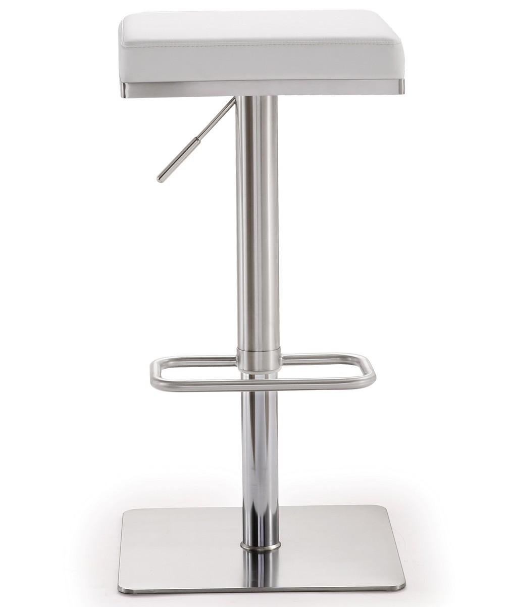 TOV Furniture Bari White Stainless Steel Adjustable Barstool