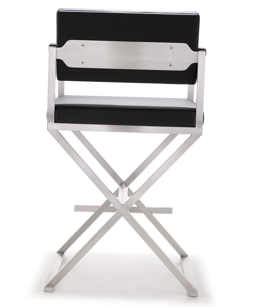 TOV Furniture Director Black Stainless Steel Counter Stool