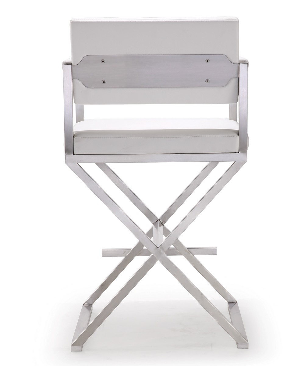 TOV Furniture Director White Stainless Steel Counter Stool