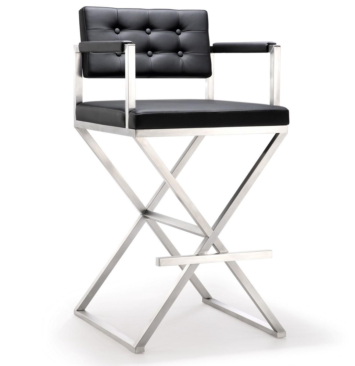 TOV Furniture Director Black Stainless Steel Barstool