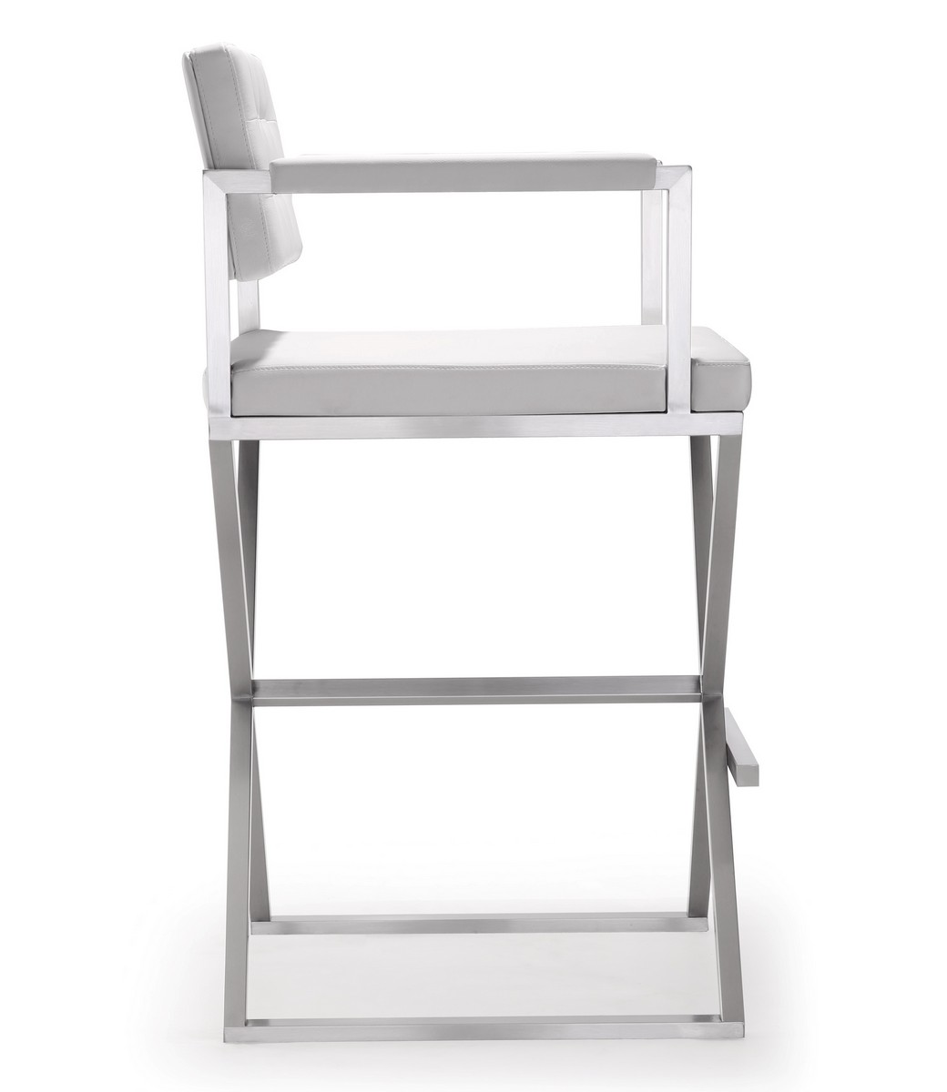 TOV Furniture Director White Stainless Steel Barstool