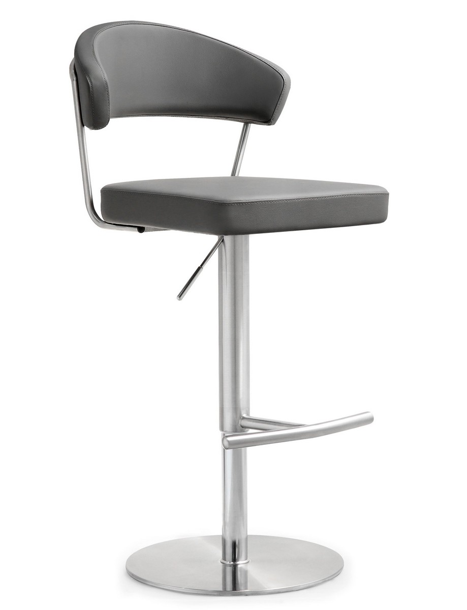 Tov Furniture Cosmo Grey Stainless Steel Barstool K3629 At