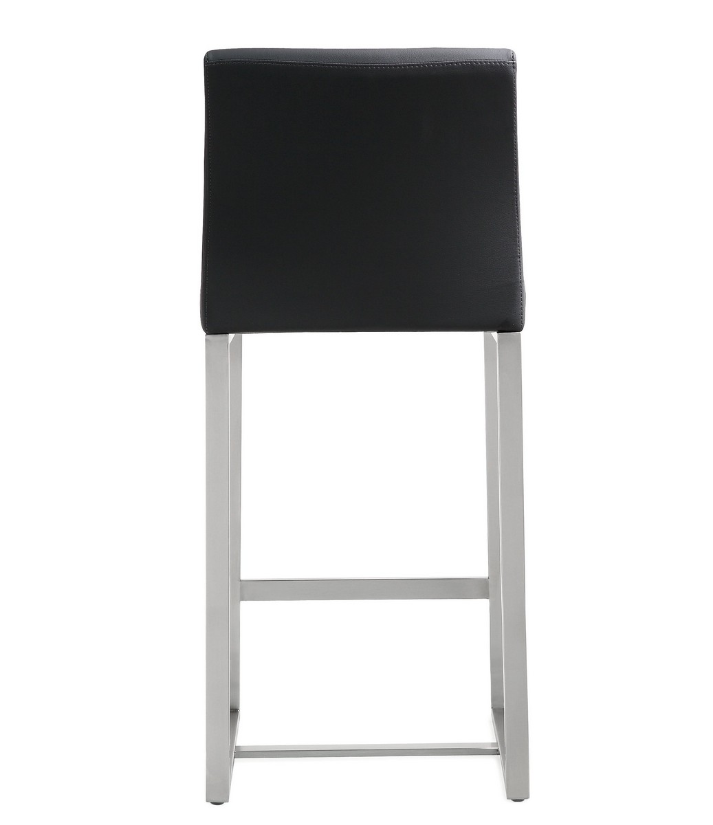 TOV Furniture Denmark Black Stainless Steel Counter Stool (Set of 2)
